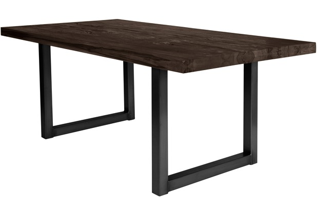 SIT TISCHE Tisch 240x100 cm, Balkeneiche carbon-grau Platte carbon-grau, Gestell antikschwarz