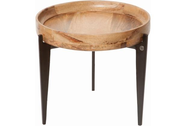 Tom Tailor Beistelltisch Tischplatte als Tablett verwendbar Platte natur, Beine schwarz breit