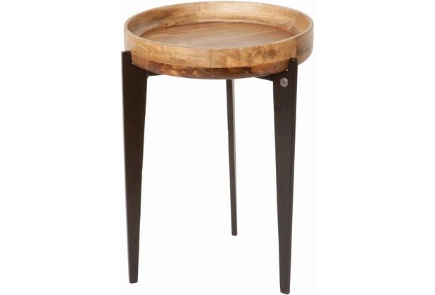 Tom Tailor Beistelltisch Tischplatte als Tablett verwendbar Platte natur, Beine schwarz hoch