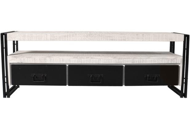 SIT-Möbel White Panama Lowboard 3 Schubladen, 1 offenes Fach weiß mit antikschwarz