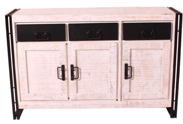 SIT White Panama Sideboard 3 Türen, 3 Schubläden weiß mit antikschwarz
