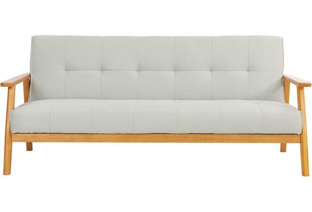SIT 4SOFA Schlafsofa, hellgrau 3-Sitzer, mit Relaxfunktion Gestell natur, Bezug hellgrau
