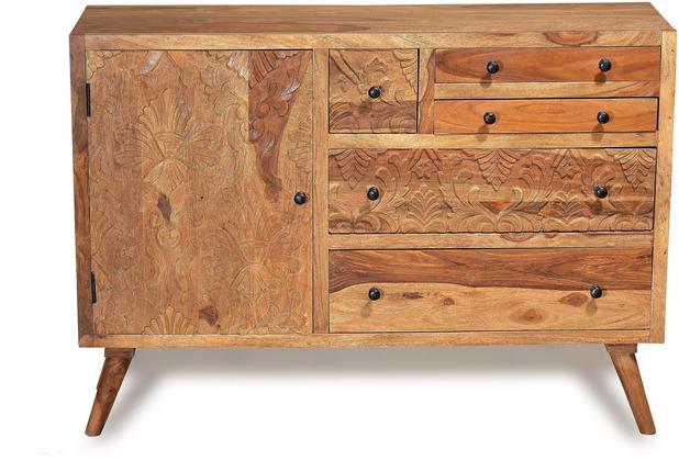 SIT CARVED Sideboard 1 Tür, 6 Schubladen natur