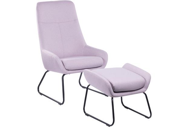 SIT &CHAIRS Sessel mit Fußhocker rosa Gestell schwarz, Bezug rosa