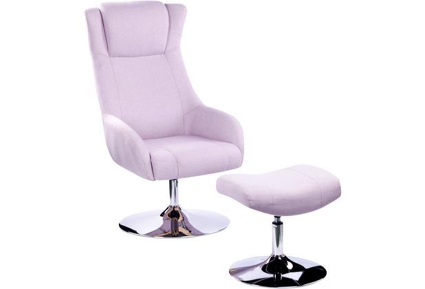 SIT &CHAIRS Sessel mit Fußhocker rosa Gestell verchromt, Bezug rosa