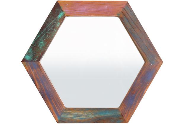 SIT Spiegel Altholz, Metall 6-eckig bunt