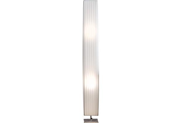 SIT THIS & THAT Stehleuchte 120 cm eckig weiß Plisseé Lampenschirm, verchromtes Metall weiß, silber