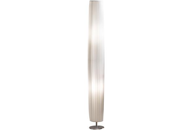 SIT THIS & THAT Stehleuchte 120 cm rund weiß Plisseé Lampenschirm, verchromtes Metall weiß, silber