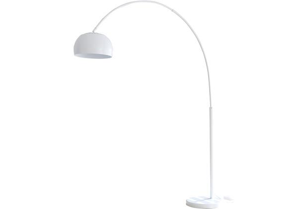 SIT THIS & THAT Stehleuchte 205 cm weißes Metall dimmbar, Ø Lampenschirm 33 cm, echter Marmorfuß weiß