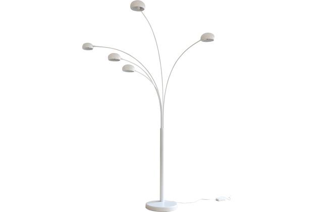 SIT THIS & THAT Stehleuchte 220 cm weiß 5 bewegliche Arme, Dimmschalter, echter Marmorfuß weiß