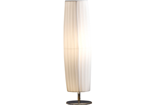 SIT THIS & THAT Tischleuchte 60 cm rund weiß Plisseé Lampenschirm, verchromtes Metall weiß, silber
