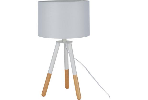 SIT THIS & THAT Tischleuchte weiß Gestell weiß und natur, Schirm weiß