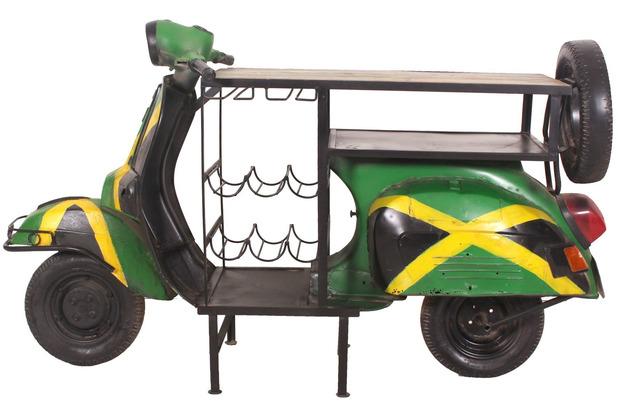 """SIT THIS & THAT Weintisch \""""Jamaika\"""" aus einem recyceltem Roller Ablage für 6 Flaschen, Gläserhalter"""