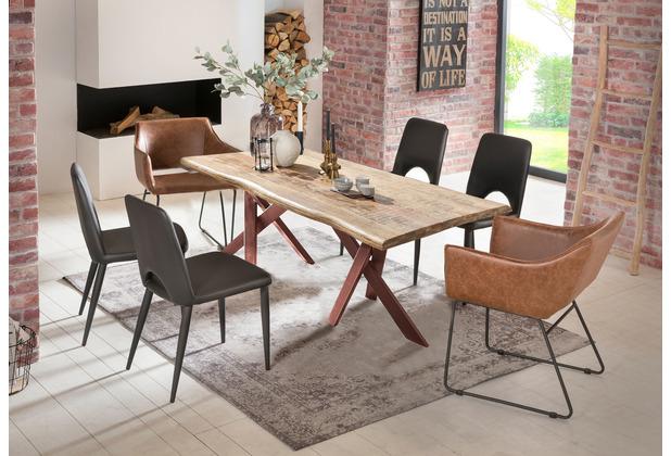 SIT Tisch 160x90 cm, Platte Mango massiv, 2 x Gestell Metall antikbraun
