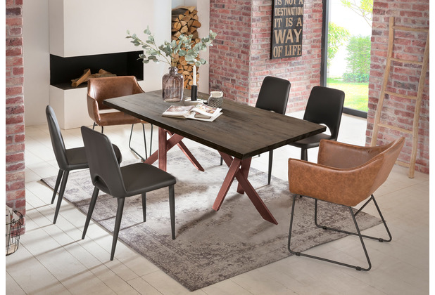 SIT Tisch 180x100 cm, Platte Balkeneiche geölt, Gestell Metall antikbraun