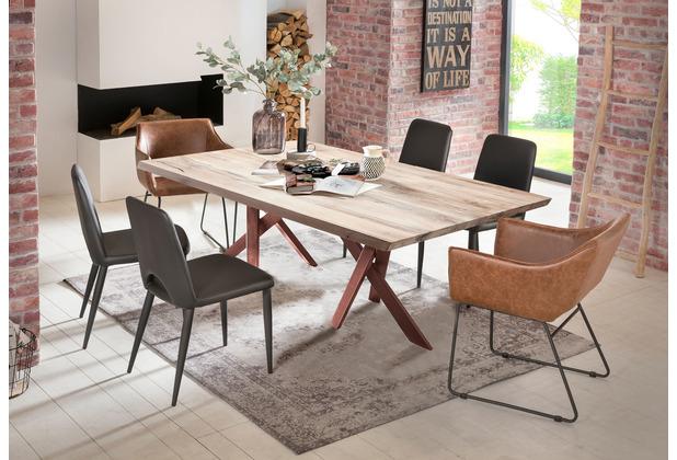 SIT Tisch 220x100 cm, Platte Balkeneiche, Gestell Metall antikbraun