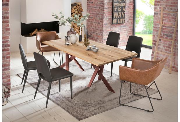 SIT Tisch 240x100 cm, Platte Wildeiche geölt, 2 x Gestell Metall antikbraun