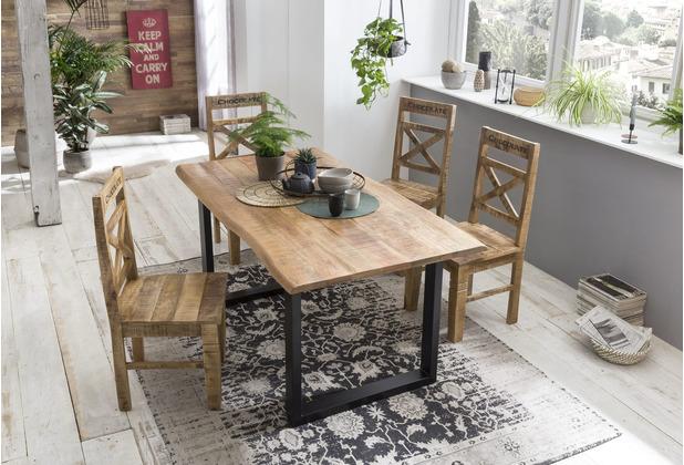 SIT TISCHE & BÄNKE Tisch 160x85 cm, Mango natur sägerau, Platte natur, Gestell schwarz lackiert