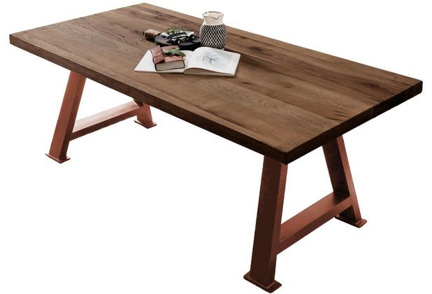SIT TISCHE & BÄNKE Tisch 180x100 cm Platte Räucheröl-Finish, A-Gestell antikbraun