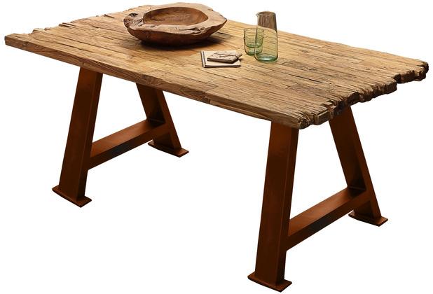 SIT TISCHE & BÄNKE Tisch 200x100 cm Platte natur, A-Gestell antikbraun used look