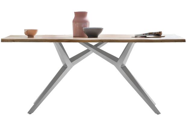SIT TISCHE & BÄNKE Tisch 200x100 cm Platte natur, Gestell antiksilbern, dünne Platte