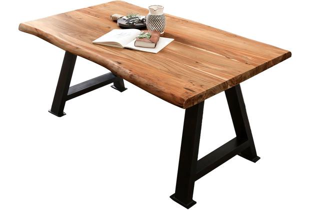 SIT TISCHE & BÄNKE Tisch 220x100 cm Platte natur, Gestell antikschwarz