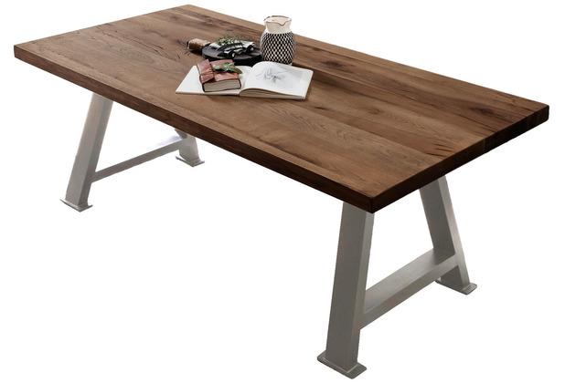 SIT TISCHE & BÄNKE Tisch 220x100 cm  Platte Räucheröl-Finish, Gestell antiksilbern