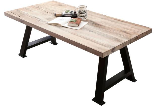 SIT TISCHE & BÄNKE Tisch 220x100 cm  Platte white wash, Gestell antikschwarz