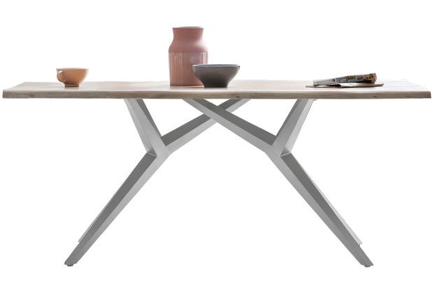 SIT TISCHE & BÄNKE Tisch 240x100 cm  Platte white wash, Gestell antiksilbern