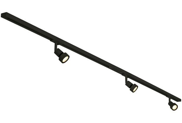 SLV 1-Phasen Hochvolt-Set 3, schwarz, 2x1m, inkl.3xPURI und LED Leuchtmittel 4,3W schwarz