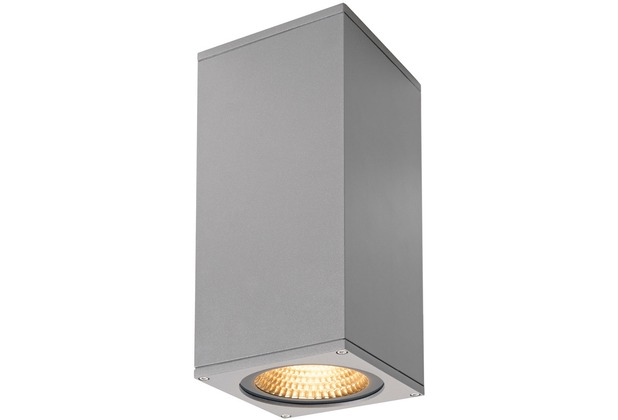 SLV BIG THEO WALL, Outdoor Wandleuchte, zweiflammig, LED, 3000K, Flood up/Beam down, silbergrau, B/H/T 13/29/13,5 cm