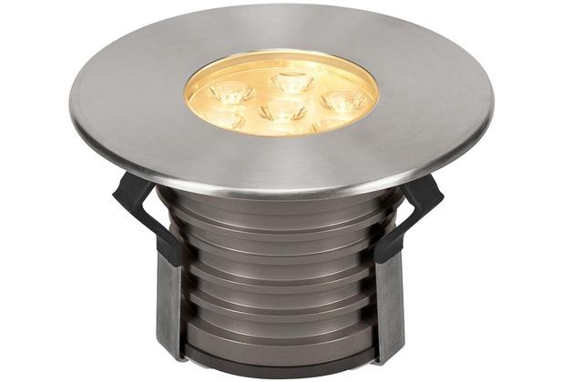 SLV DASAR PREMIUM HV, Bodeneinbau- leuchte, rund, 17W, 24°, 3000K edelstahl