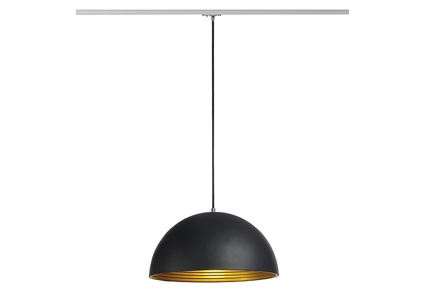 SLV FORCHINI M Pendelleuchte, 40cm, rund, schwarz/gold, E27, inkl. silbernem 1P.-Adapter