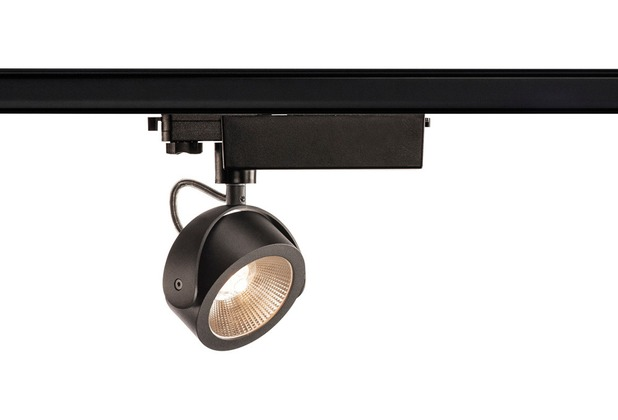 SLV KALU LED Strahler für 3Phasen Hochvolt-Stromschiene, 3000K, schwarz, 24°, inkl. 3 Phasen-Adapter