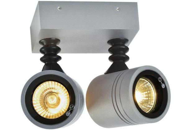 SLV NEW MYRA WALL SPOT Wandleuchte, silbergrau, 2xGU10, max. 2x50W, IP55 silbergrau