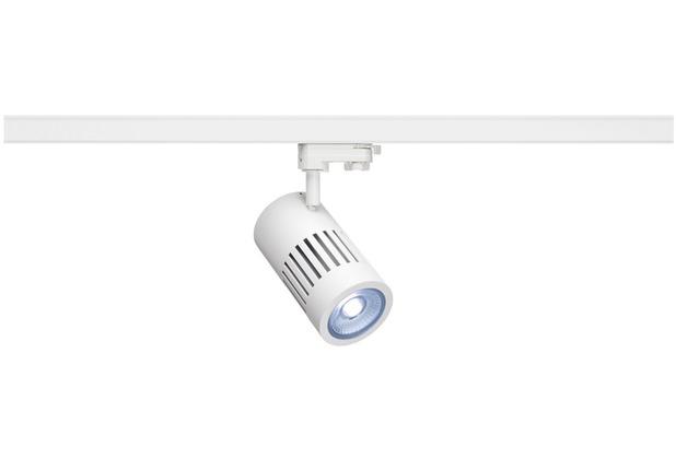 SLV STRUCTEC LED Strahler für 3Phasen Hochvolt-Stromschiene, 24W, 4000K,36°, weiss, inkl. 3 Phasen Adapter