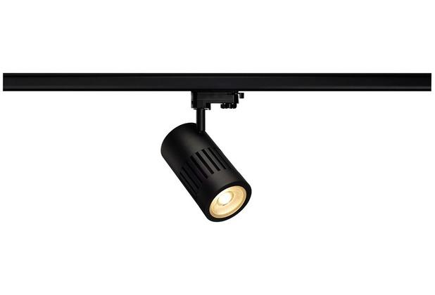 SLV STRUCTEC LED Strahler für 3Phasen Hochvolt-Stromschiene, 30W, 3000K,36°, schwarz, inkl. 3 Phasen Adapter
