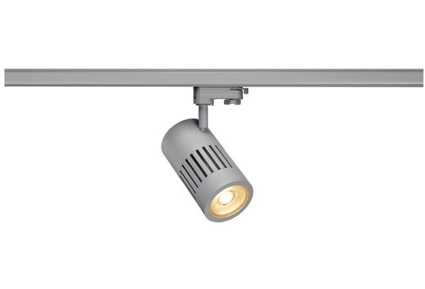 SLV STRUCTEC LED Strahler für 3Phasen Hochvolt-Stromschiene, 30W, 3000K,36°, silbergrau, inkl. 3 Phasen Adapter