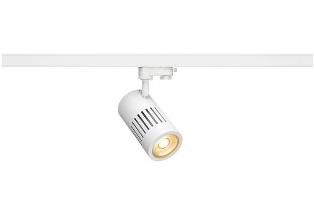 SLV STRUCTEC LED Strahler für 3Phasen Hochvolt-Stromschiene, 30W, 3000K,36°, weiss, inkl. 3 Phasen Adapter