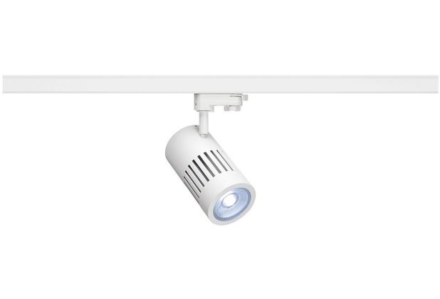 SLV STRUCTEC LED Strahler für 3Phasen Hochvolt-Stromschiene, 30W, 4000K,36°, weiss, inkl. 3 Phasen Adapter