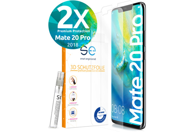 smart engineered [2x] 3D Schutzfolie Huawei Mate 20 Pro Transparent (Klar) Front (Display) im SET