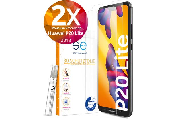 smart engineered [2x] 3D Schutzfolie Huawei P20 Lite Transparent (Klar) Front (Display) SET inkl. Nano-Versiegelung