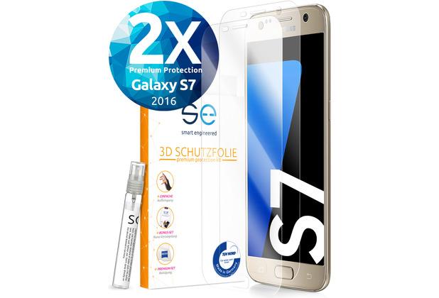 smart engineered [2x] 3D Schutzfolie Samsung Galaxy S7 Transparent (Klar) Front (Display) SET inkl. Nano-Versiegelung
