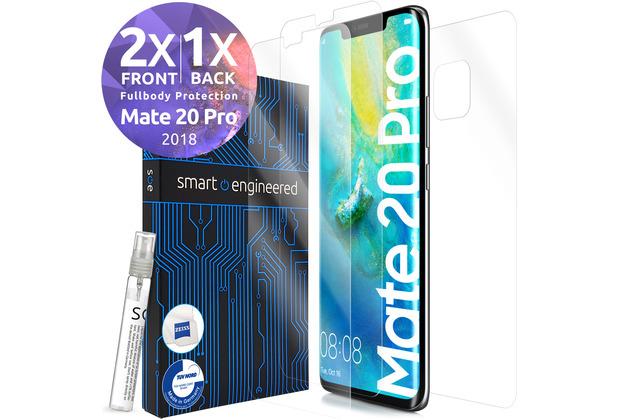 smart engineered 3D Schutzfolien für Huawei Mate 20 Pro, 2x Premium HD Displayschutzfolien, 1x Folie Rückseite