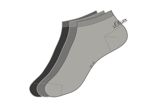 s.Oliver Sneaker 3 Paar 08 anthracite 3 Paar S24001 35/38