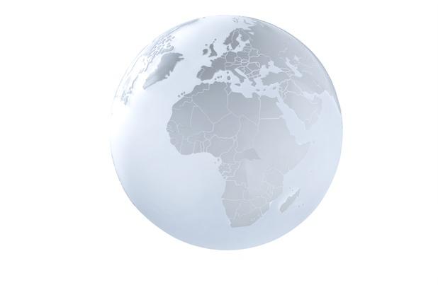 Sompex Tischleuchte Earth Glas D 28cm mattweiß Weltkarte