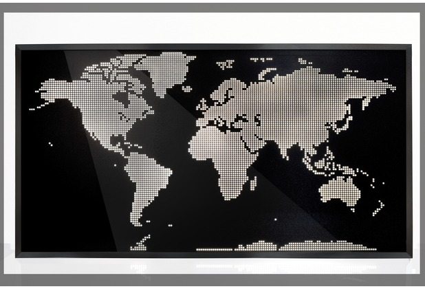 Sompex Wandleuchte Map LED, Weltkarte/Alu, Acryl