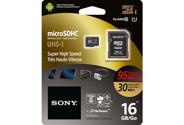 Sony microSDHC Card 16GB, Expert, Class 10, UHS-I 95MB/s, 633x, inkl. SD-Card Adapter, Retail-Blister