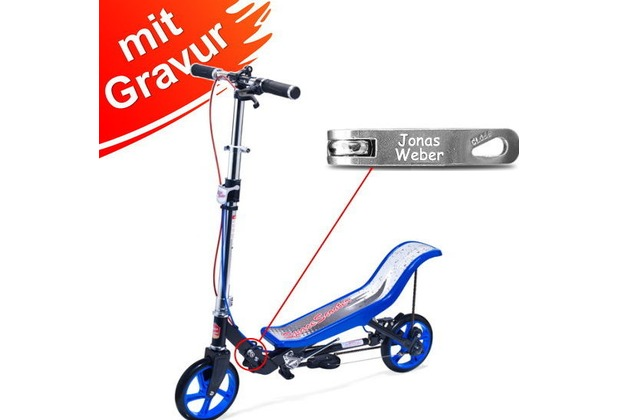 space scooter x590 deluxe blau mit gravur z b namen bis. Black Bedroom Furniture Sets. Home Design Ideas