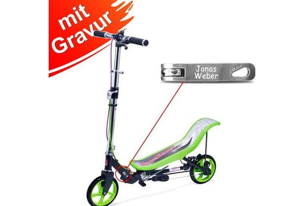 Space Scooter X590 Deluxe Grün MIT GRAVUR (z.B. Namen) bis 120 kg für Kinder und Erwachsene